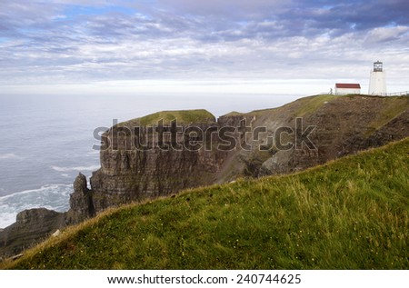 Historical Lighthouse in Cape Mary Reserve, Newfoundland   - stock photo