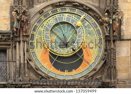 Historical medieval astronomical Clock in Prague on Old Town Hall, Czech Republic