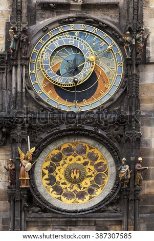 Historical medieval astronomical Clock in Prague on Old Town Hall , Czech Republic - stock photo