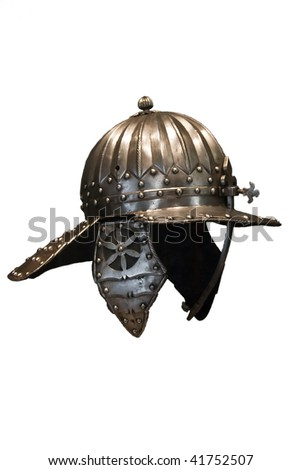 Historical Military Helmet in the museum - stock photo