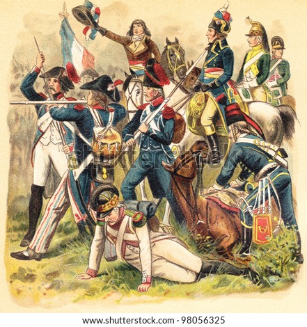 Historical military uniforms from France - 1789-1799 (French Revolution) / vintage illustration from Meyers Konversations-Lexikon 1897 - stock photo