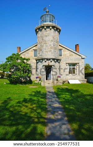 Historical Old Lighthouse in Stonington, Connecticut.  Built in 1840. - stock photo