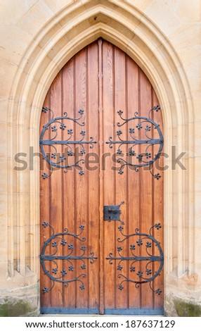 Historical ornate  door , Kutna Hora, Czech Republic - stock photo