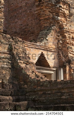 historical park detail, texture of lintel over door at historical ancient city, Petchaboon,Thailand - stock photo