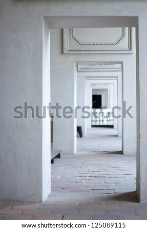 Historical Passage Through Doorway in a Temple. Focused on Foreground. Without any People - stock photo