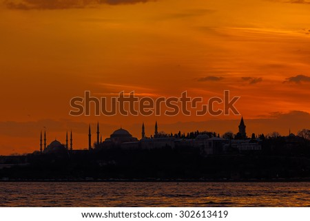 Historical peninsula of Istanbul at sunset - stock photo