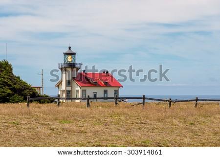 Historical Point Cabrillo Lighthouse. Mendocino, California - stock photo