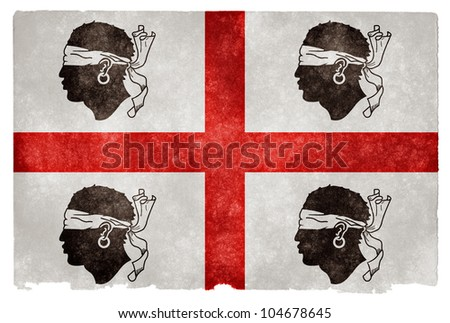 Historical pre-1999 flag of Sardinia (Italy) on grunge textured vintage paper. Similar to the current official flag of Sardinia, except the Moors heads face left and bandages cover their eyes - stock photo