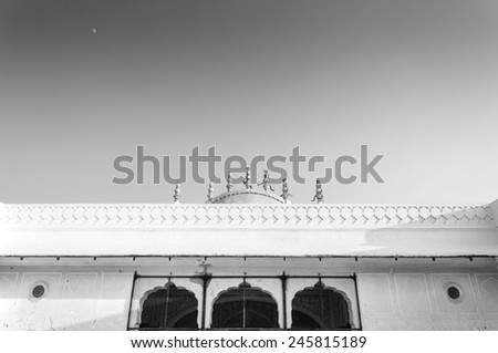 Historical Rajasthan Nahargarh fort in Jaipur, India (black and white) - stock photo