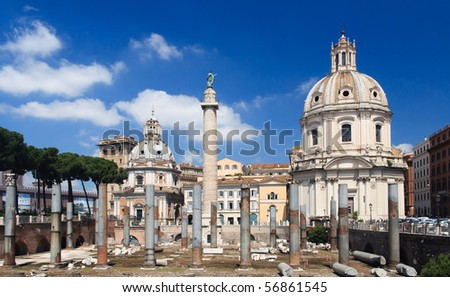 historical ruined building in Rome - stock photo