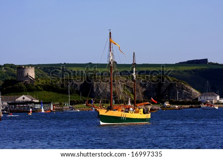 historical ship, Plymouth, UK - stock photo