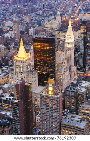 Historical skyscrapers of New York City Manhattan downtown at dusk - stock photo