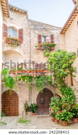 Historical Spello alley with flowers - stock photo
