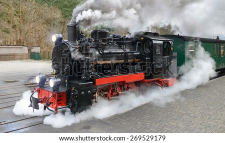 Historical steam train on end station in Gohren, island Rugen, Germany - stock photo