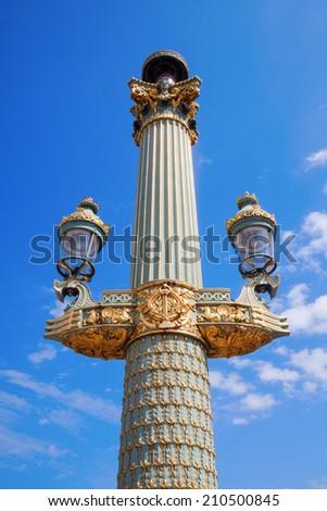 historical street lantern on the Place de la Concorde in Paris, France - stock photo