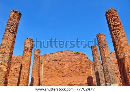 Historical Wall in Thailand - stock photo