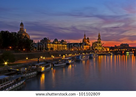 Historical waterfront of Dresden, Germany - View of the baroque historic waterfront of the city of Dresden, Germany, after sundown with the Blue Hour setting in. - stock photo