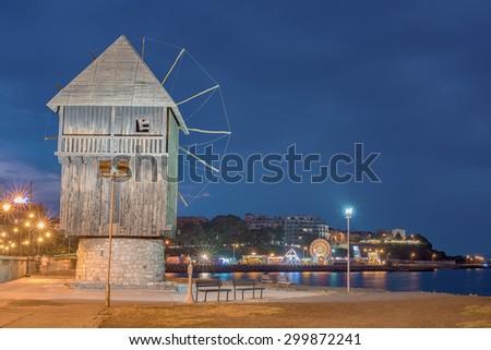 Historical windmill in Nesebar (Bulgaria) at night - stock photo
