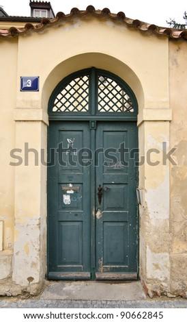 Historical Wooden Door, Prague, The Czech Republic - stock photo