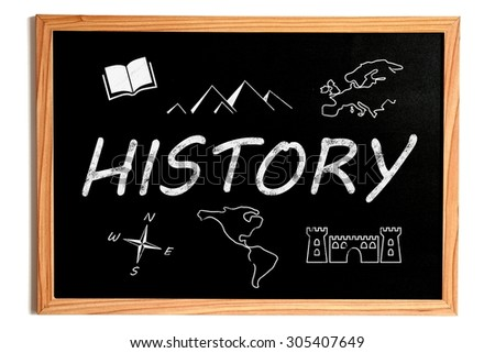History Chalk Text and Related Symbols on Chalkboard on White Background - stock photo
