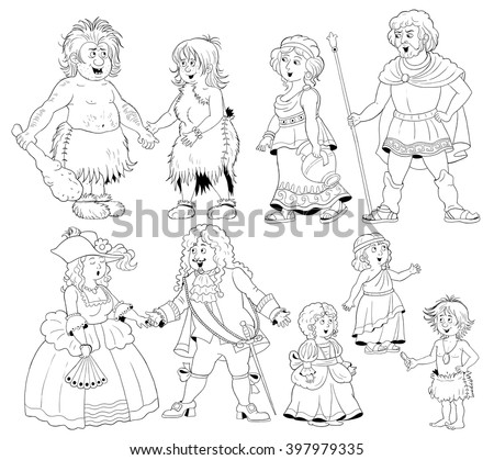 History of family. history of fashion. Families from different centuries. Cave people, family in ancient Greece and European family of Middle Ages. Coloring pages. Cartoon characters isolated.