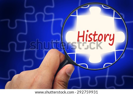 History word. Magnifier and puzzles. - stock photo
