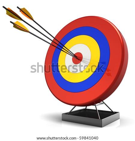 Hit a target. 3D render (Hi-Res) - stock photo