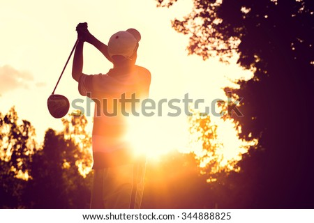 Hit golf in strong sunlight. - stock photo