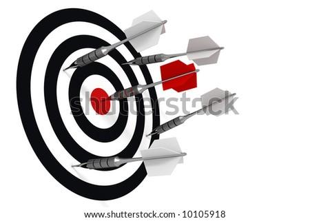 Hit to the bull's-eye, metallic darts, red - stock photo