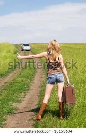 hitchhiker - stock photo