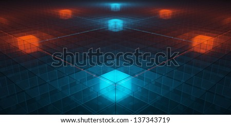 Hitech networks with overheat cores - stock photo