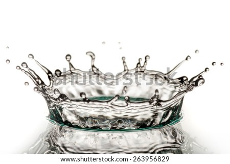 hits of water isolated on white background - stock photo