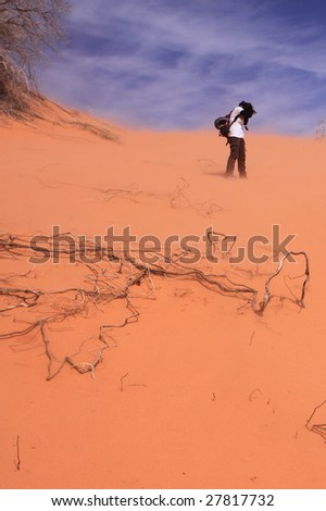 Hitting by the sandstorm - stock photo