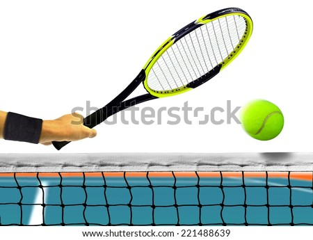 Hitting Tennis Ball in Front of the Net over White - stock photo