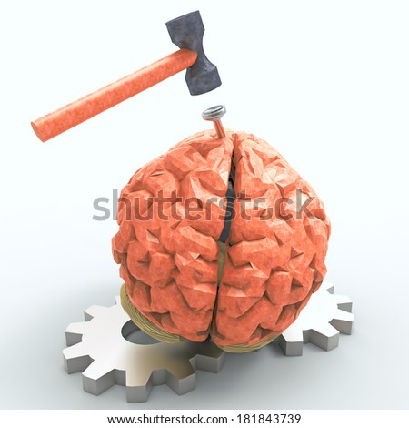 Hitting the nail on the head with cogwheels - stock photo