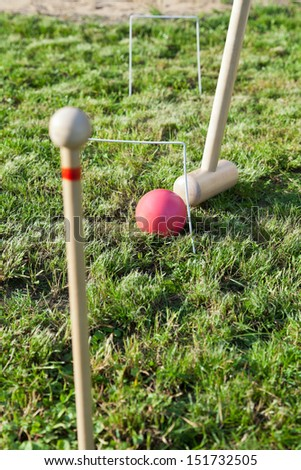 hitting through hoop by red ball game of croquet on green lawn in summer day - stock photo