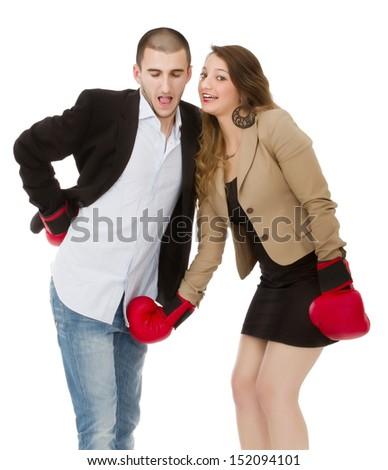 hitting under belt line - stock photo