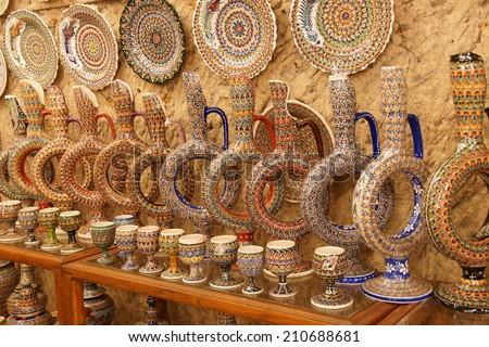 Hittite wine vessels on display in a pottery factory in  Avanos in Cappadocia,  Turkey  - stock photo