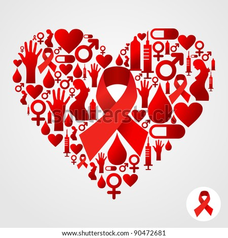 HIV icons set in heart shape. - stock photo