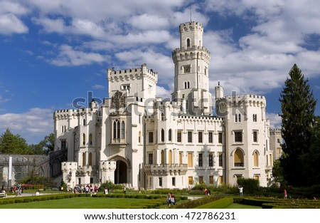 HLUBOKA NAD VLTAVOU, CZECH REPUBLIC - AUGUST 17: Castle Hluboka nad Vltavou on AUGUST 17, 2016 CZECH REPUBLIC. Hluboka Castle is one of the most beautiful castles of the Czech