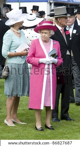 HM Queen Elizabeth II and Prince Phillip attending The Epsom Derby Meeting at Epsom Downs Racecourse in Surrey. 4th June 2011.  05/06/2011  Picture by: Simon Burchell / Featureflash - stock photo