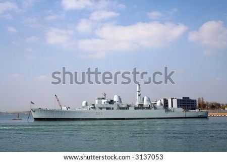 HMS Bristol (D23) at berth in Portsmouth harbour. The only example of its type, now a training ship. - stock photo