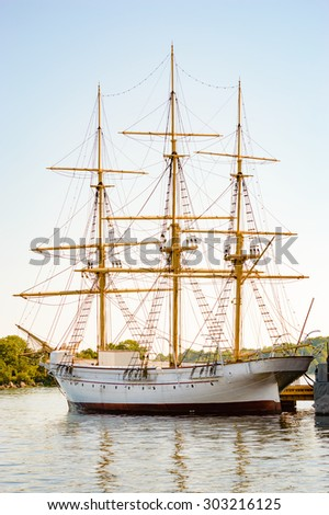 HMS Jarramas is one of the smallest fully rigged sailing ships in the world. She was launched in February 1900 and is now moored in Karlskrona, Sweden. - stock photo