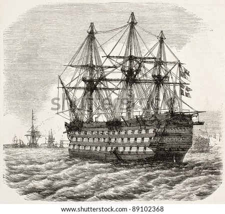 HMS Victory old illustration, Nelson's flagship at the Battle of Trafalgar (at present days museum ship in Portsmouth). By unidentified author, publ. on L'Illustration, Journal Universel, Paris, 1858 - stock photo