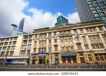 HO CHI MINH CITY - APRIL 29: Union Square and Hotel Continental- modern and classic building in Ho Chi Minh City, Dong Khoi Street, Ho Chi Minh City, Vietnam. April 29, 2014 in Ho Chi Minh City.  - stock photo