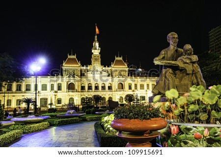 Ho Chi Minh City Hall in Ho Chi Minh City, Vietnam at night. It is known as Ho Chi Minh City People's Committee Head office and was built in 1902-1908.