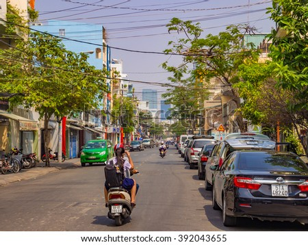 HO CHI MINH CITY - JAN 30: Street view of Ho Chi Minh City in Vietnam on January 30, 2015. Ho Chi Minh City, formerly named Saigon is the largest city in Vietnam. - stock photo