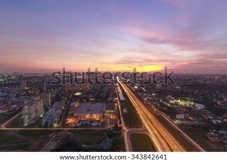 Ho Chi Minh city, 03 September 2014 : Sky view from Cantavil Building,