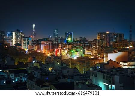 Ho Chi Minh city, Viet Nam - Apr 07, 2017: Ho Chi Minh cty skyline at night, Sai Gon, Viet Nam.
