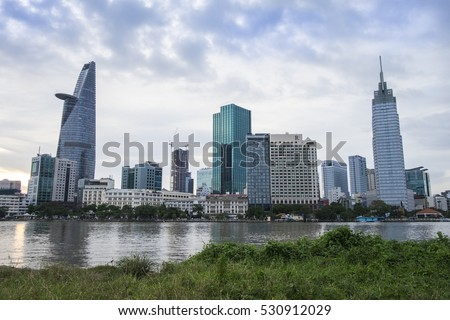 HO CHI MINH CITY, VIET NAM - DEC 07, 2016: Bitexco and other modern buidings in central of Sai gon, Viet Nam.